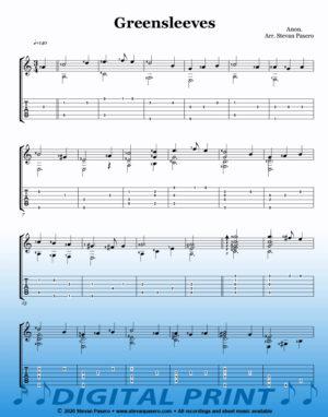 Greensleeves sheet music by Stevan Pasero