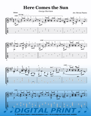 Here Comes the Sun sheet music arr by Stevan Pasero