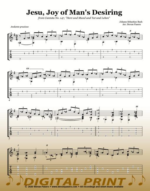 Jesu Joy of Man's Desiring sheet music arranged by Stevan Pasero