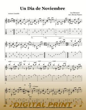Un Dia de Noviembre sheet music_by Leo Brouwer arr. by Stevan Pasero