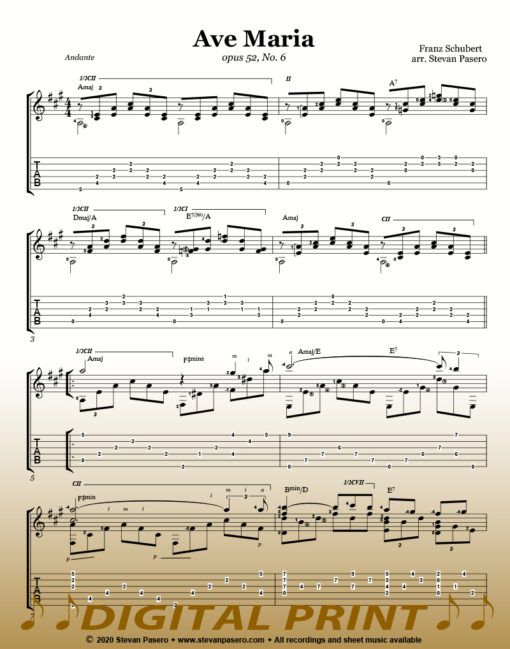 Ave Maria sheet music arranged by Stevan Pasero