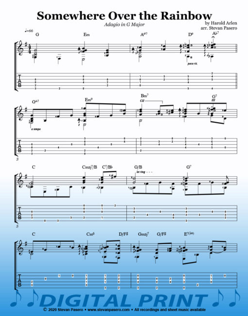 Somewhere Over the Rainbow_Adagio in G Major sheet music by Stevan Pasero
