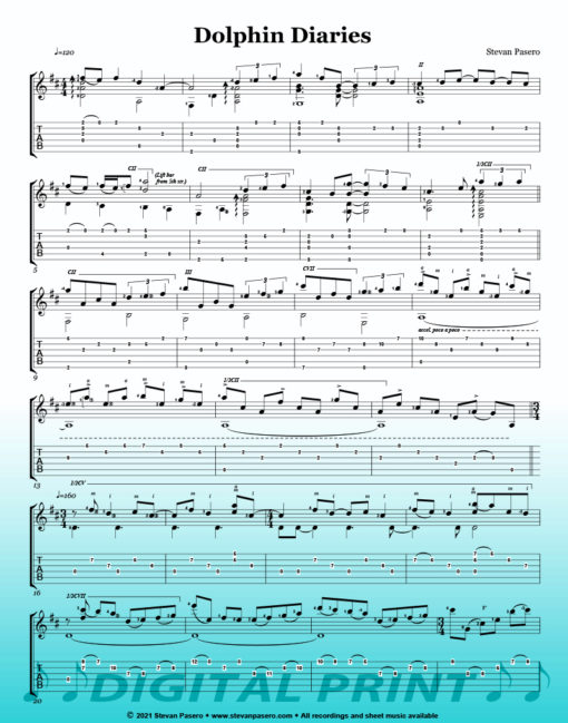 Dolphin Diaries (Water Dance for Peace) sheet music by Stevan Pasero